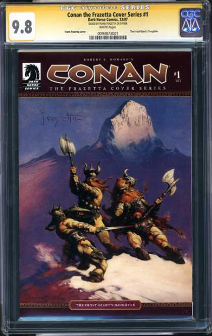 CGC Graded Comics - Conan the Frazetta Cover Series #1 (CGC) - Vikings - Axes - Sword - Mountain - The Front Giants Daughter