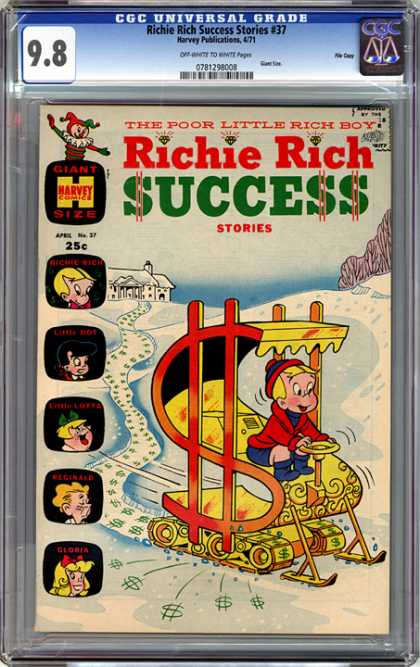 CGC Graded Comics - Richie Rich Success Stories #37 (CGC) - Richie Rich - Harvey Comics - Golden Age - Snowmobile - Success Stories