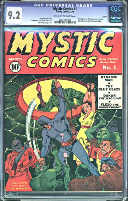 CGC Graded Comics - Mystic Comics #1 (CGC) - Mystic Comics - March No 1 - Dynamic Man - The Blue Blaze - Dakor The Magician