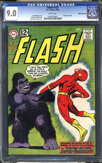 CGC Graded Comics - Flash #127 (CGC) - Super Gorilla - Shocking - Flash - Menancing - Battle