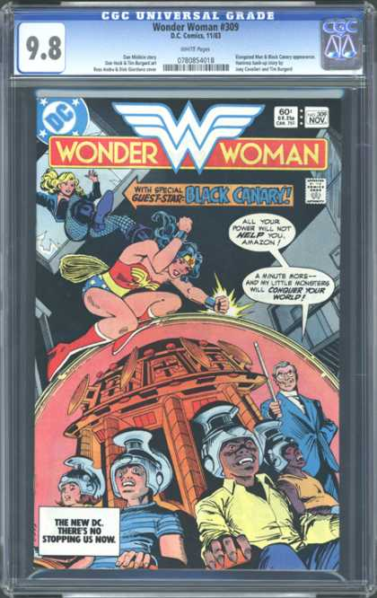CGC Graded Comics - Wonder Woman #309 (CGC) - Wonder Woman - Black Canary - Men With Helmets On Heads - 60 An Issue - November Issue