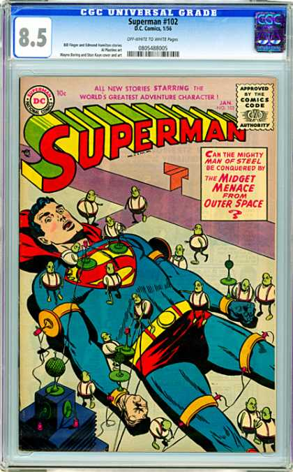 CGC Graded Comics - Superman #102 (CGC) - Superman - Arrested - Small People - Shocking - Liedown