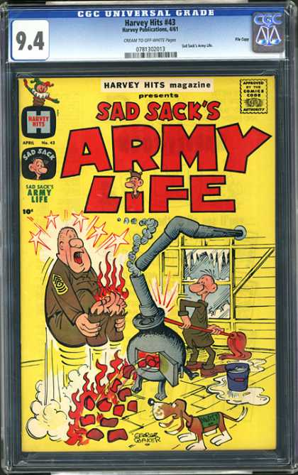CGC Graded Comics - Harvey Hits #43 (CGC) - Sad Sack - Army Life - Boiler - Flames - Dog