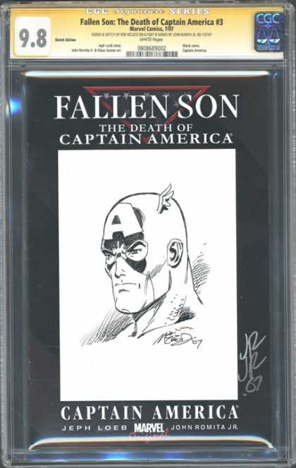 CGC Graded Comics - Fallen Son: The Death of Captain America #3 (CGC) - Cgc Signature Series - The Death Of Captain America - Fallen Son - Signed - John Romita Jr