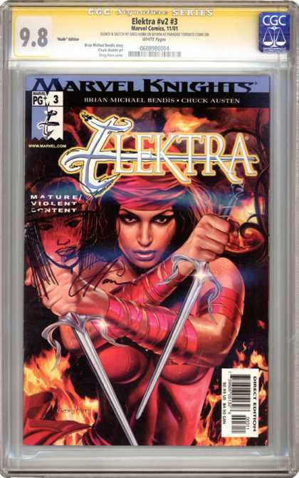 CGC Graded Comics - Elektra #v2 #3 (CGC) - Sais - Flames - Sensual - Red - Brian Michael Bendis