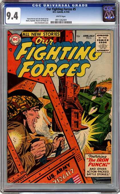CGC Graded Comics - Our Fighting Forces #5 (CGC) - Cgc Universal Grade - All New Stories - Fighting Forces - Approved By The Comics Code - The Iron Punch