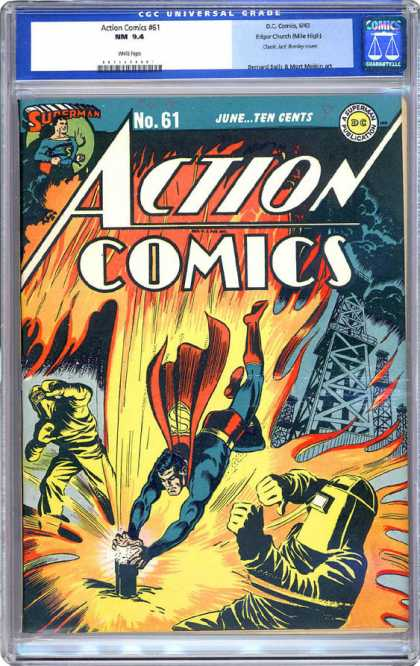 CGC Graded Comics - Action Comics #61 (CGC) - Welder - Cape - Fire - Rigs - Clouds
