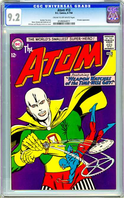 CGC Graded Comics - Atom #13 (CGC) - The Worlds Smallest Super-hero - Atom 13 - Weapon Watches Of The Time-wise Guy - Shooting Watch - 92