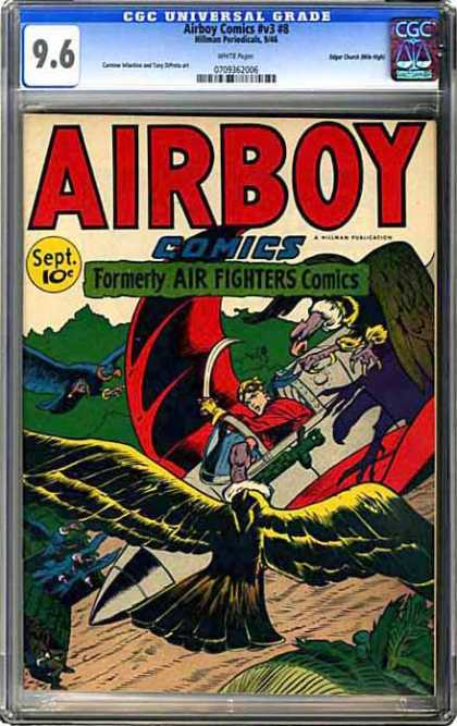 CGC Graded Comics - Airboy Comics #v3 #8 (CGC) - Airboy - Air Fighters - Vultures - Plane - Machete