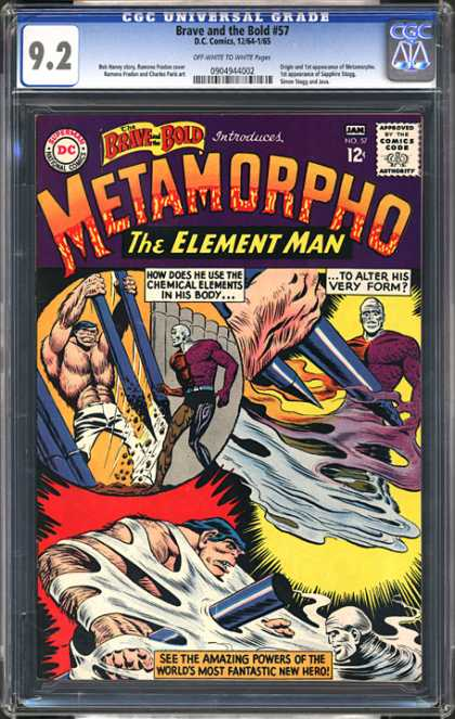 CGC Graded Comics - Brave and the Bold #57 (CGC) - Metamorpho - Elemant Man - Chemical Elements - Muscular Man - White Face Man