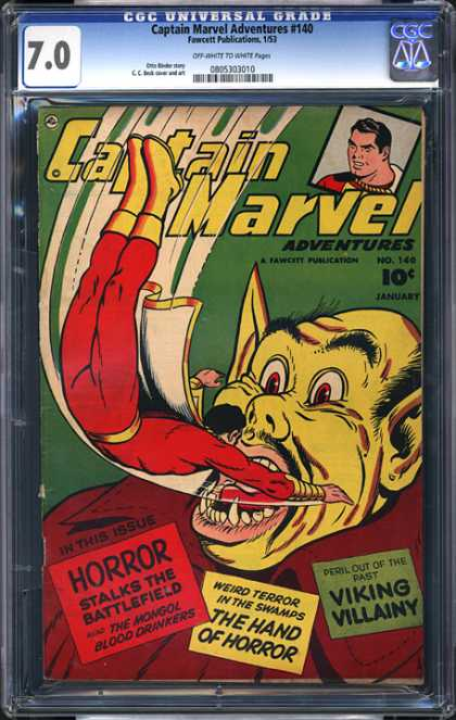 CGC Graded Comics - Captain Marvel Adventures #140 (CGC) - Captain Marvel - The Hand Of Horror - Viking Villainy - The Mongol - Blood Drinkers