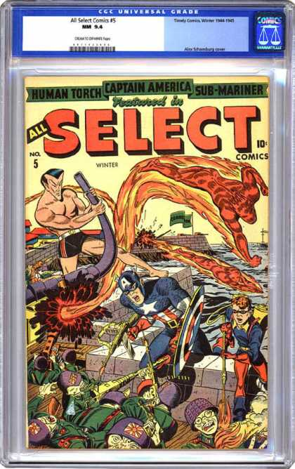 CGC Graded Comics - All Select Comics #5 (CGC) - Human Torch - Captain America - Sub-mariner - Japanese Soldiers - Bent Gun