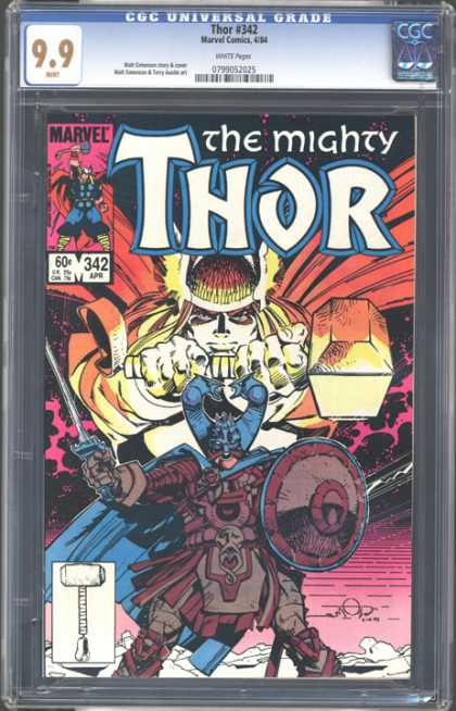 CGC Graded Comics - Thor #342 (CGC) - Thor - Hammer - Viking - Sword - Shield