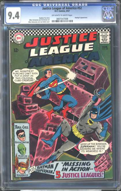 CGC Graded Comics - Justice League of America #52 (CGC) - Superman - Batman - Green Lantern - Punch - Hawkman