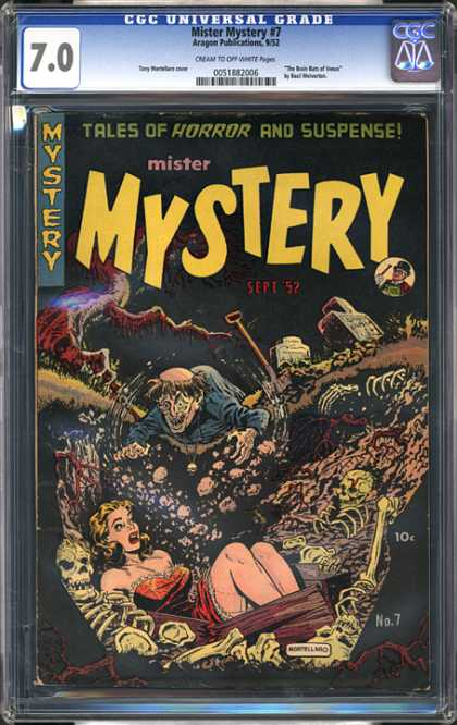 CGC Graded Comics - Mister Mystery #7 (CGC) - Skeletons - Graveyard - Burial - Tombstones - Woman