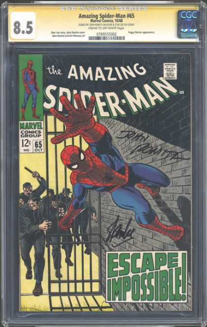 CGC Graded Comics - Amazing Spider-Man #65 (CGC) - Comics Code Authority - Marvel Comics - 12 Cents - October - Brick Wall