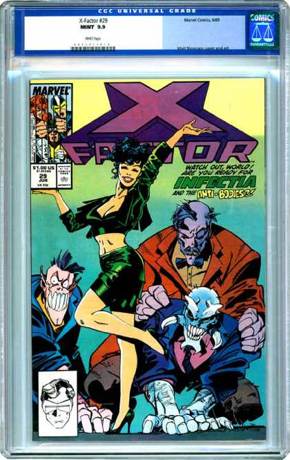 CGC Graded Comics - X-Factor #29 (CGC) - Infectia - Anti-bodies - Puple Face - Green Dress - Marvel