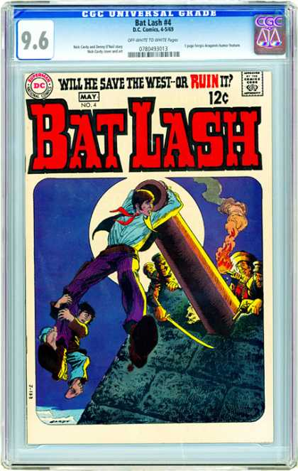 CGC Graded Comics - Bat Lash #4 (CGC) - Bat Lash - Will He Save The West Or Ruin It - Cowboy - Cannon - Moon
