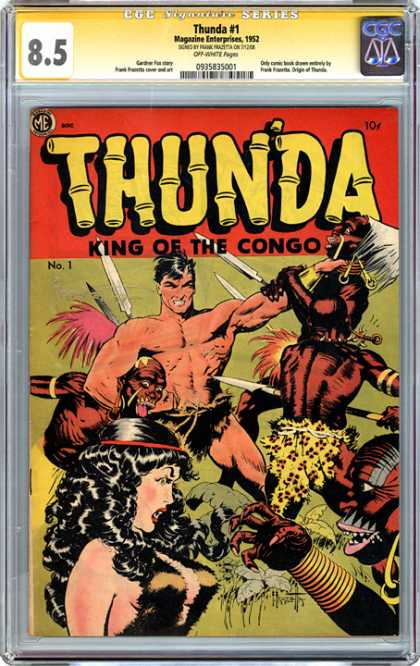 CGC Graded Comics - Thunda #1 (CGC) - Natives - Jungle - Fight - Headlock - Woman In Distress