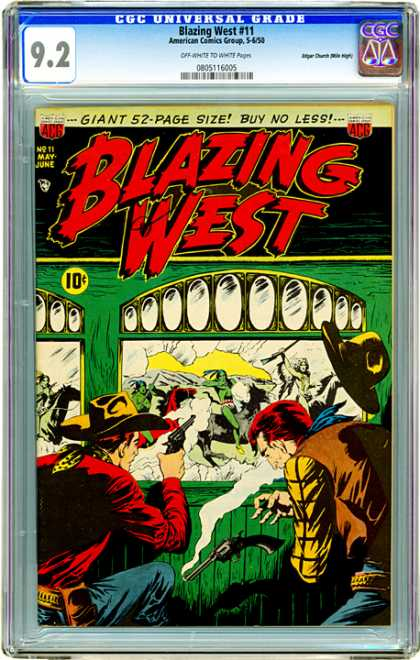 CGC Graded Comics - Blazing West #11 (CGC) - Blazing West - Gun - Horse - Cow Boy - Hat