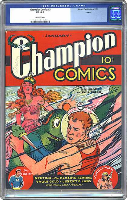 CGC Graded Comics - Champion Comics #3 (CGC) - Champion Comics - Woman - Man - Alien - Battle