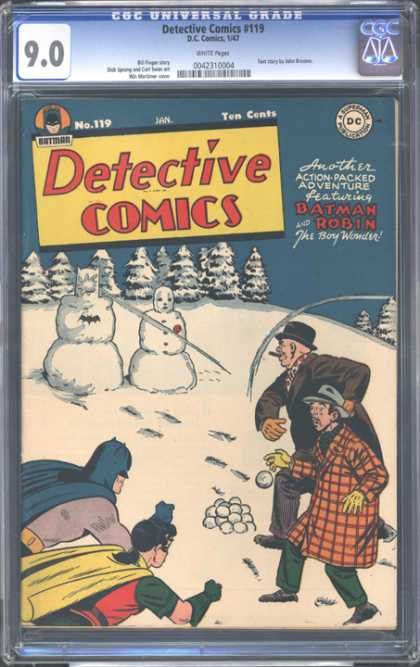 CGC Graded Comics - Detective Comics #119 (CGC) - Batman - Snowman - Snowballs - Crooks - Surprised