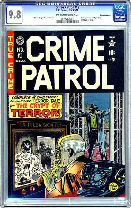 CGC Graded Comics - Crime Patrol #15 (CGC) - True Crime - Televistion - The Crypt Of Terror - Terror Tales - Telephone