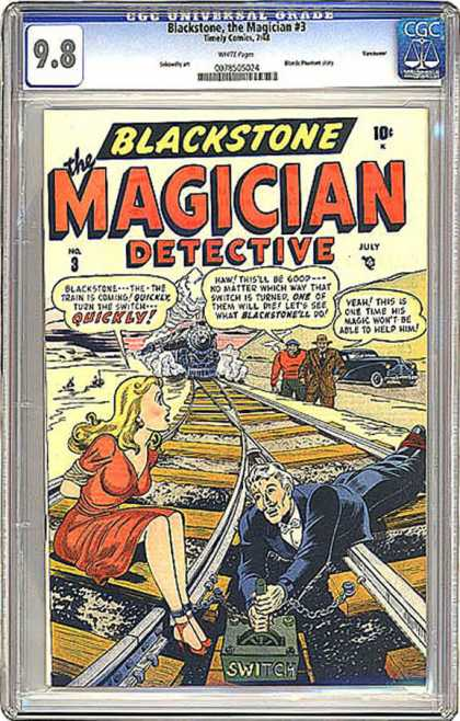 CGC Graded Comics - Blackstone, the Magician #3 (CGC) - Locomotive - Railroad Tracks - Switch - Tied Up - Chained