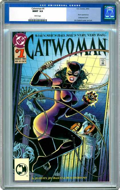 CGC Graded Comics - Catwoman #1 (CGC) - Dinosaur Skeletons - Whip - Pillar - Jewelry - Museum