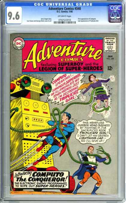 CGC Graded Comics - Adventure Comics #340 (CGC) - Superboy - Legion Of Super-heroes - Computo - Triplicate Girl - Lightning Lad