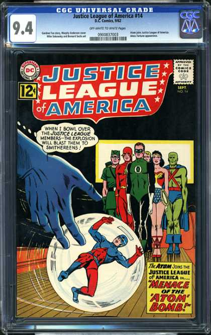 CGC Graded Comics - Justice League of America #14 (CGC) - Wonder Woman - Flash - Door - Ball - Bowling