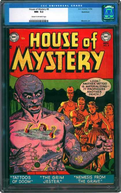 CGC Graded Comics - House of Mystery #8 (CGC) - House Of Mystery - Tattoo Prophesies Of Death - Tattoos Of Doom - The Grim Jester - Nemesis From The Grave