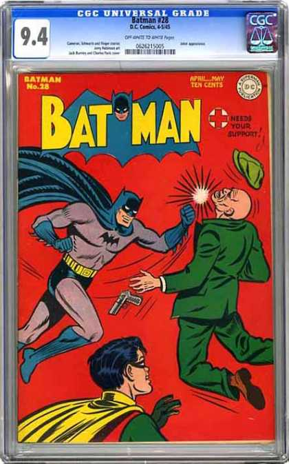 CGC Graded Comics - Batman #28 (CGC) - Batman And Robin - 28 Issue - Batman Hitting Man In Green - Robin Standing In The Front - Red Cross Needs Your Support