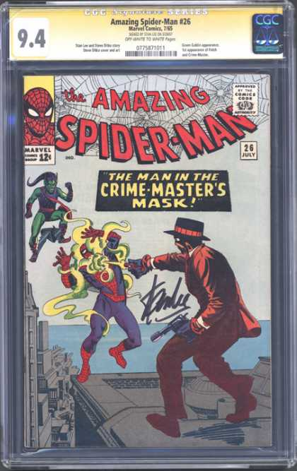 CGC Graded Comics - Amazing Spider-Man #26 (CGC) - Green Goblin - Amazing Spider-man - Marvel Comics - The Man In The Crime Masters Mask - Signed
