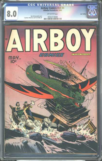 CGC Graded Comics - Airboy Comics #v5 #4 (CGC) - Airboy Comics - Monster - Boat - Water - Gun