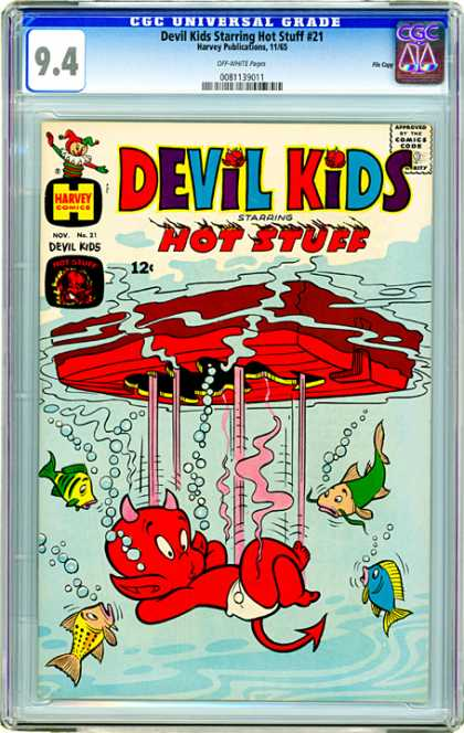 CGC Graded Comics - Devil Kids Starring Hot Stuff #21 (CGC) - Devil Kids - Hot Stuff - Harvey Comics - Water - Fish
