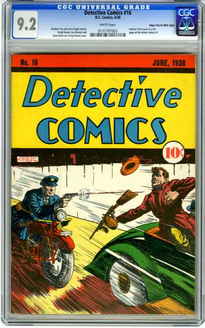CGC Graded Comics - Detective Comics #16 (CGC) - Policeman - Motorbike - Pistol - Bad Guy - Rifle