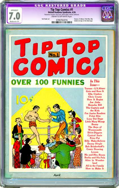 CGC Graded Comics - Tip Top Comics #1 (CGC) - Cgc Hologram - Ring - Boxers - Funnies - Dime