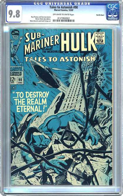 CGC Graded Comics - Tales to Astonish #98 (CGC) - Tales To Astonish - Marvel Comics - Approved By The Comics Code Authority - Hulk - Submariner
