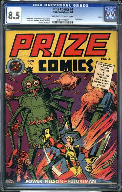 CGC Graded Comics - Prize Comics #4 (CGC) - Prize Publications - Golden Age - Power Nelson - Robots - Sci-fi