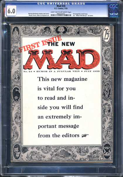 CGC Graded Comics - Mad #24 (CGC) - First Issue - 25 Cents - The New Mad - Important Message - July