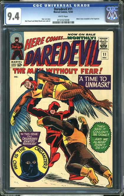 CGC Graded Comics - Daredevil #11 (CGC) - Unmask - Blue Wings - Daredevil - Organizer - Birdman