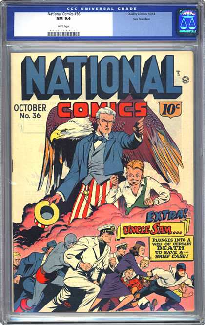 CGC Graded Comics - National Comics #36 (CGC) - National Comic - Uncle Sam - The Brief Case - American Eagle - Patriotism