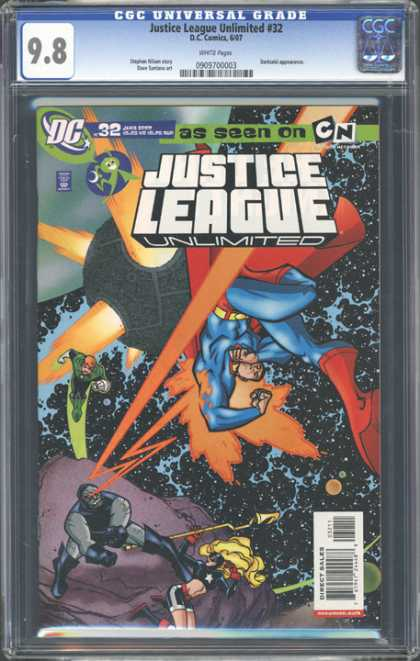 CGC Graded Comics - Justice League Unlimited #32 (CGC) - Ray Blast - Superman - Green Lantern - Outer Space - Satellite