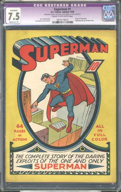 CGC Graded Comics - Superman #1 (CGC) - Classic Comic - Block Lettering - 64 Pages - Full Color Action - Complete First Issue