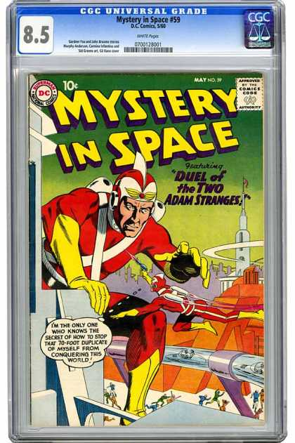 CGC Graded Comics - Mystery in Space #59 (CGC) - Duel Of The Two Adam Stranges - 10c - May - No 59 - Approved By The Comic Code