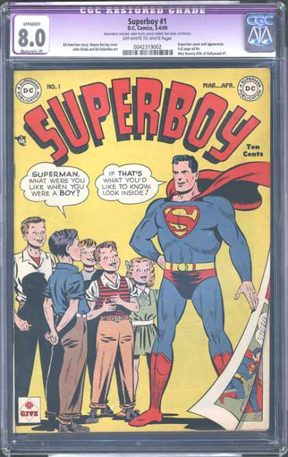 CGC Graded Comics - Superboy #1 (CGC) - Superboy - Superman - Children - Page Turning - Ten Cents