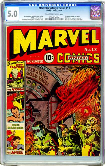 CGC Graded Comics - Marvel Mystery Comics #13 (CGC) - Gold Vault - Angel - Sensational New Features - The Vision - Sub-mariner