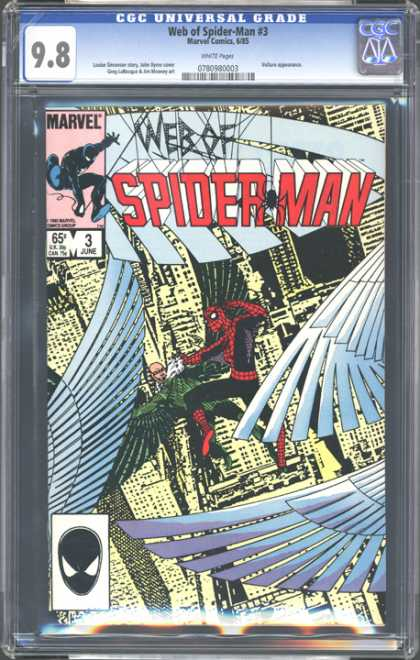 CGC Graded Comics - Web of Spider-Man #3 (CGC) - Wings - Spider - Buildings - Spider Webs - 98