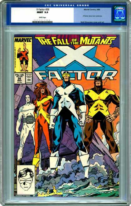 CGC Graded Comics - X-Factor #26 (CGC) - The Fall Of The Mutants - X Factor - Eye Goggles - Erect Stance - Black And White Inset Image
